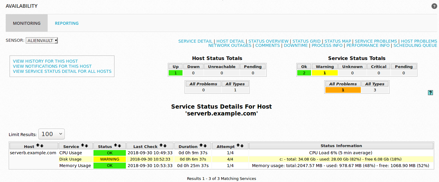 Configure Nagios Availability Monitoring on AlienVault