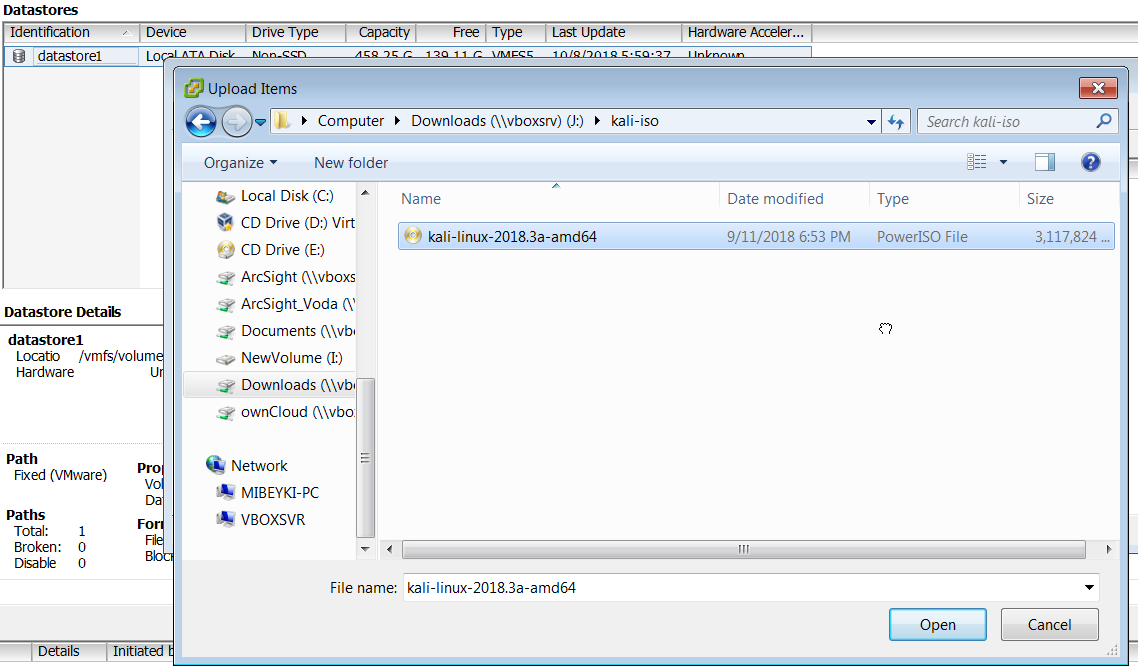How to Upload ISO File to VMware ESXi Datastore using