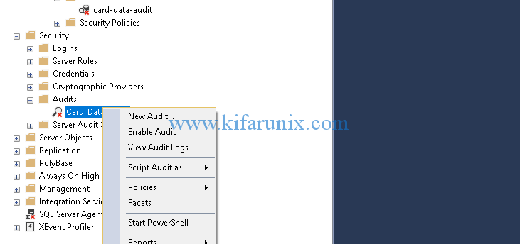enable MSSQL server and database level auditing