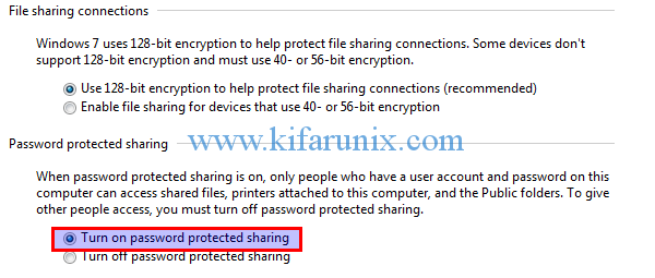 turn on password protected sharing