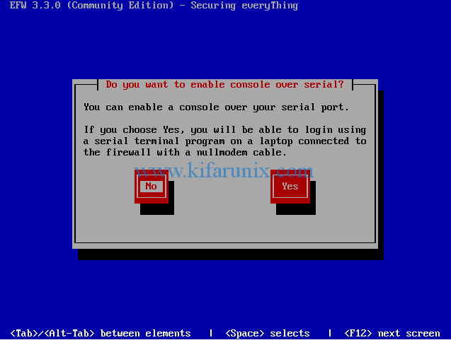 EFW console over serial