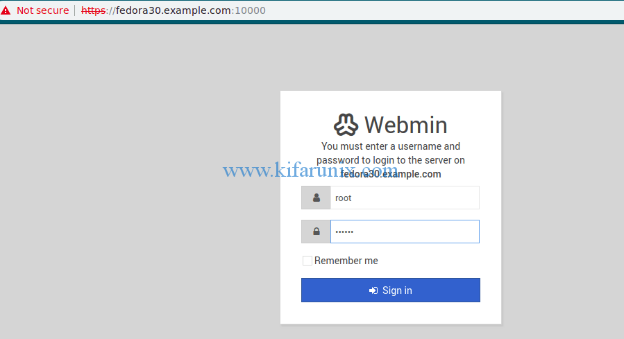install and use Webmin on Fedora 30