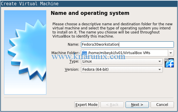 create fedora 30 workstation on VirtualBox