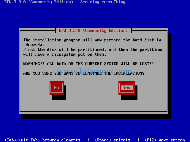 EFW disk partitioning