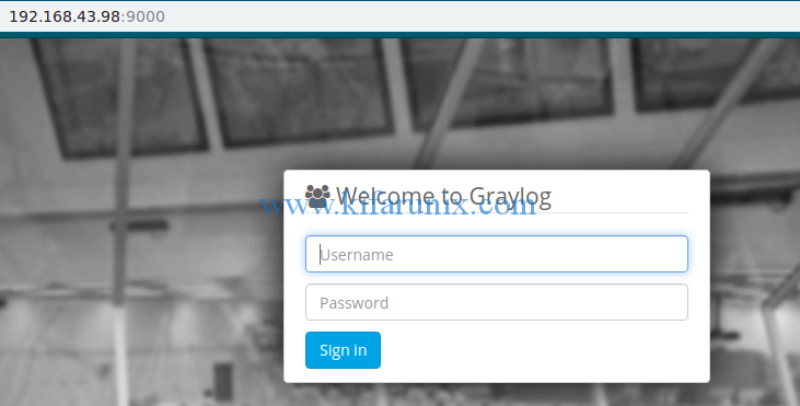 install Graylog 3.0 on Fedora 30/29/CentOS 7: Graylog login interface