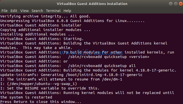 VirtualBox Guest Additions installed