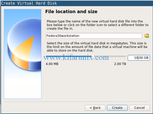 set the size and create the vm hard drive
