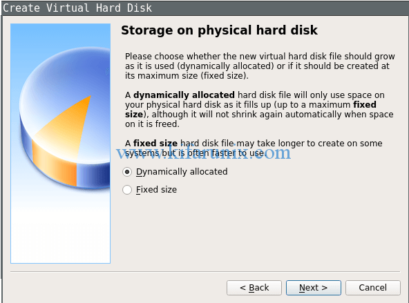 select the type of virtual machine hard disk