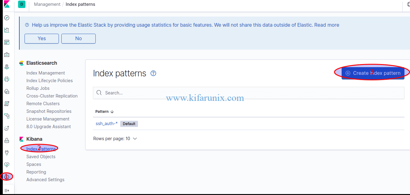 install and configure Elastic Auditbeat on Ubuntu 18.04 Kibana Index pattern