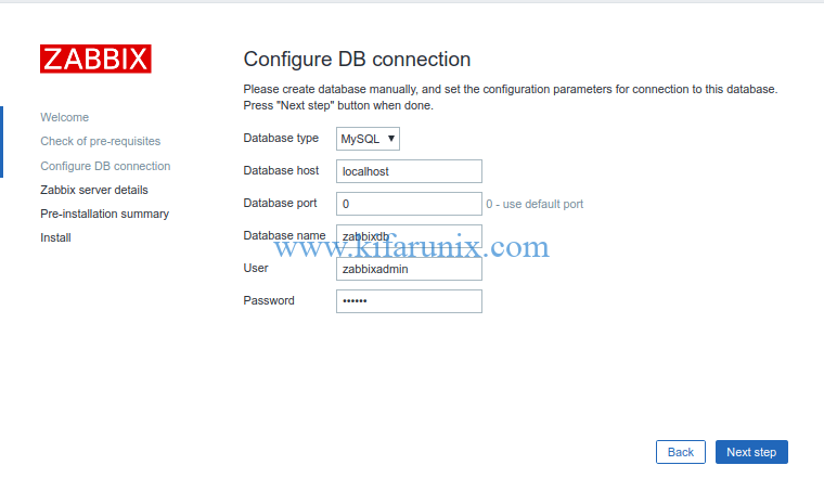 Zabbix database connection