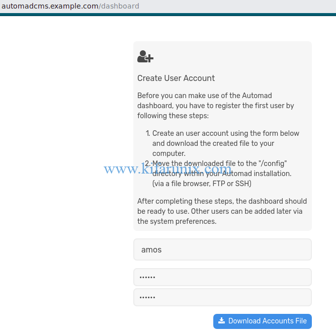 Automad CMS User Account registration