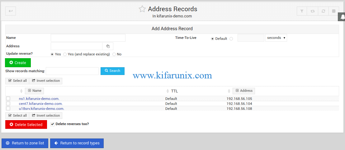 BIND A records on Webmin