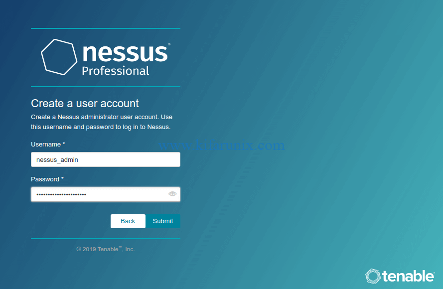Create Nessus professional admin account