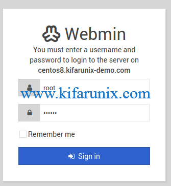 Webmin login interface on CentOS 8
