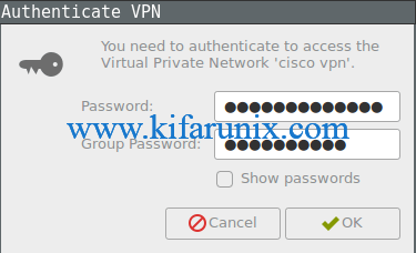 Cisco VPN client connection password