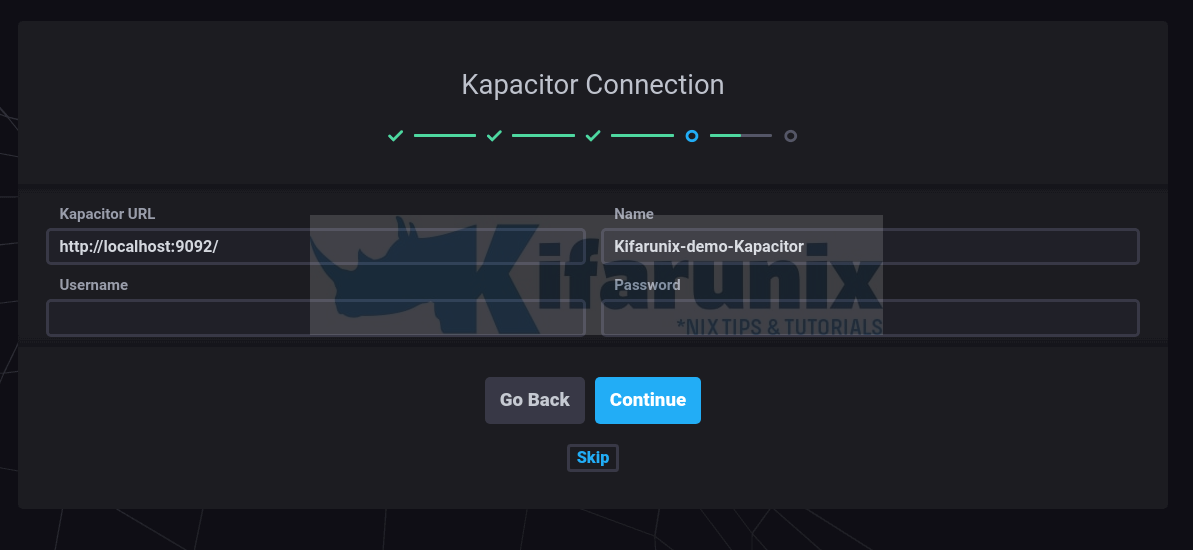 Chronograf-Kapacitor connection details