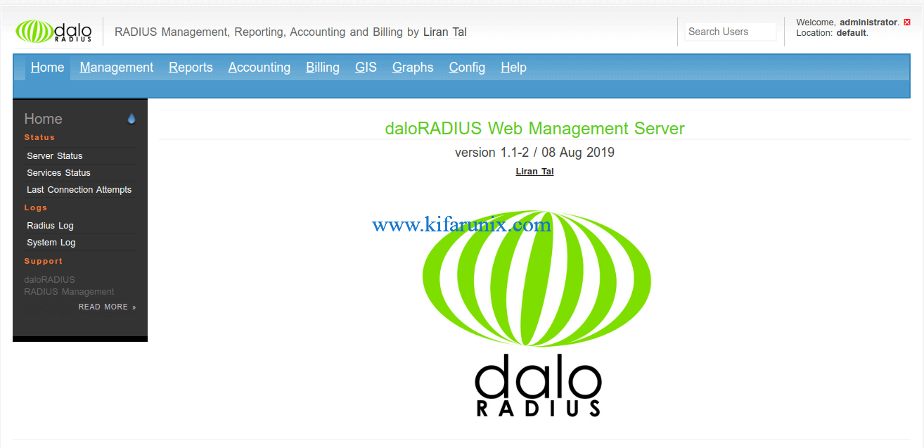 Install FreeRADIUS with daloRADIUS on Ubuntu 20.04