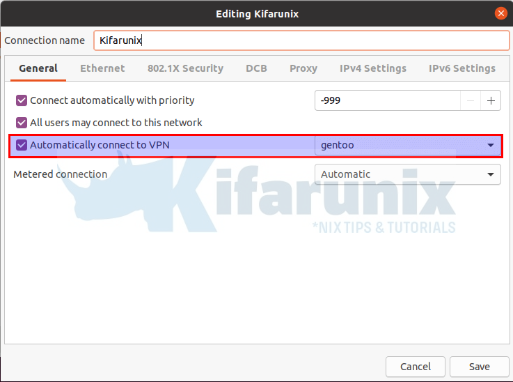 Connect to VPN Automatically on Ubuntu 20.04/18.04 via Network Manager