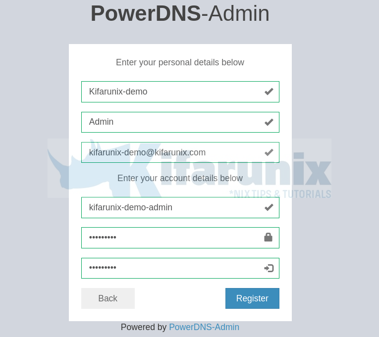 PowerDNS Admin create user account